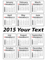 Portrait calendar for 2015 Year