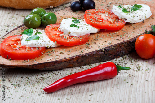 Caprese with olives