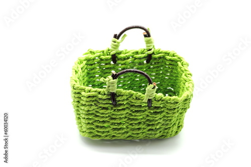 Green basket isolated on white background