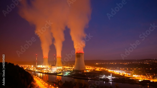 Nuclear Power Station At Night Time Lapse, Zooming In