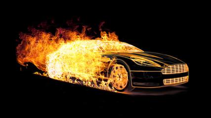 Ein Sportwagen aus Flammen und Feuer
