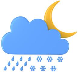 Nachts regen und Schnee