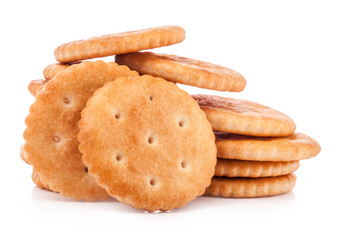 Round crackers isolated on white background