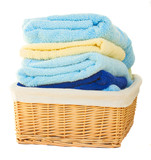 Pile of washed towel in basket