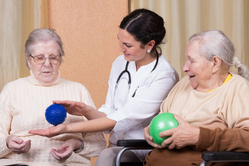 couple of senior Woman using fitness balls