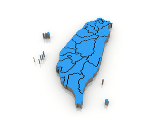 3d map Taiwan with regions