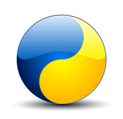 Ukraine colors Ying Yang button
