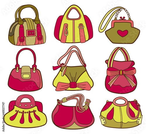 collection of fashionable women's bags (vector illustration)