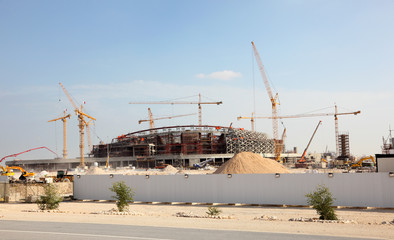 Construction of a stadium in the desert of Qatar, Middle East
