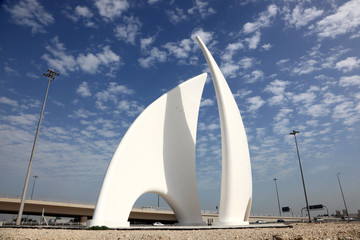 Roundabout monument in Manama, Bahrain, Middle East