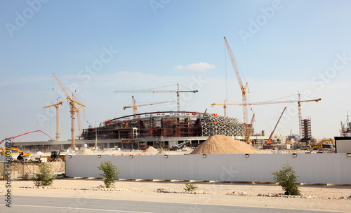 Fotobehang Stadion Construction of a stadium in the desert of Qatar, Middle East