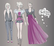 Radiant orchid / Fashion sketches of trendy outfits