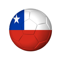 Soccer football ball with Chile flag. Isolated on white.