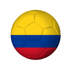 Soccer football ball with Colombia flag. Isolated on white.