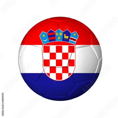 Soccer football ball with Croatia flag. Isolated on white.
