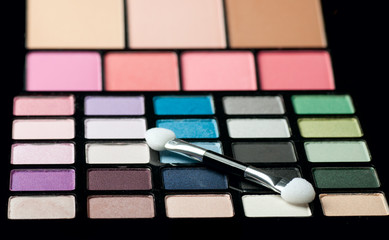 Make-up colorful eyeshadow palettes close up