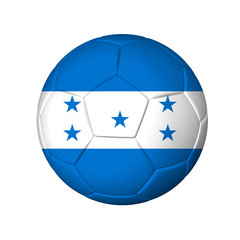 Soccer football ball with Honduras flag. Isolated on white.