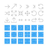 Thin Arrow Icon Set. Vector
