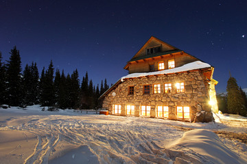 Chalet at night in Poland Tatras - Murowaniec