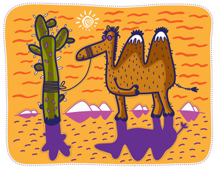 Camel in sunglasses standing in the desert tied to a cactus