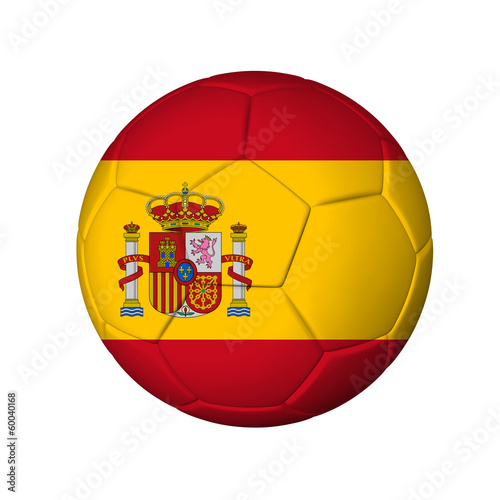 Soccer football ball with Spain flag. Isolated on white.