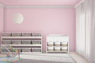 Children room with toys pink