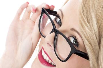 Happy Young Business Woman Wearing Glasses