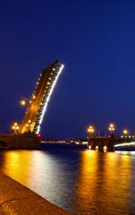 Drawbridge in St. Petersburg at night