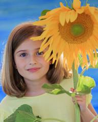 Girl and sunflower