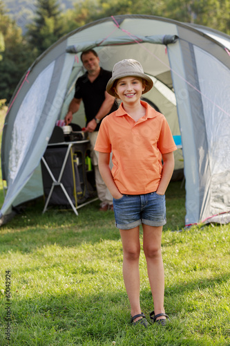 Summer in the tent - family on the camping