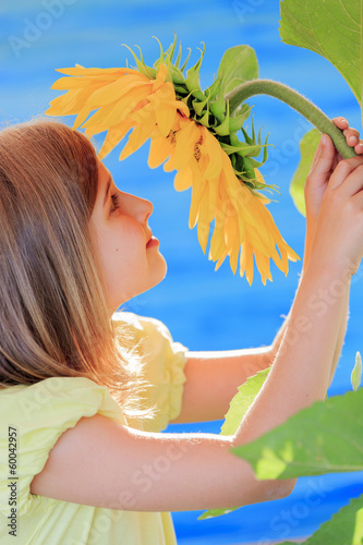 Girl and sunflower - girl is smelling sunflower