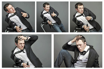 collage of Drunk young man in office clothes