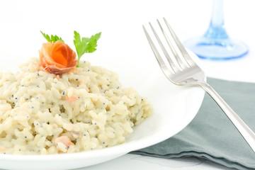 risotto con salmone e caviale