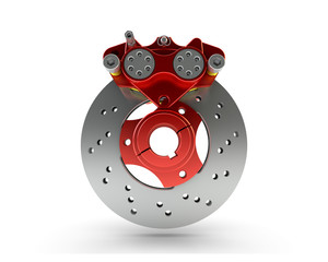 Brake Disc and Red Calliper from a Racing Motorbike isolated on