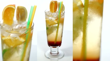 video of fruit cocktail with orange and lemon
