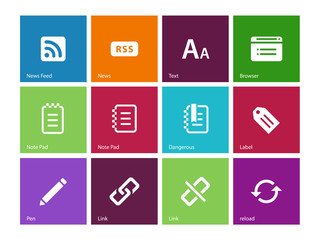 Blogger icons on color background