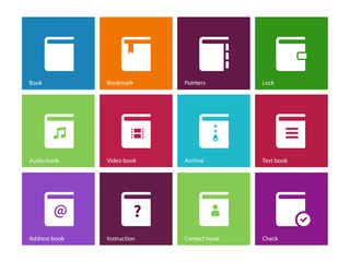 Book icons on color background.