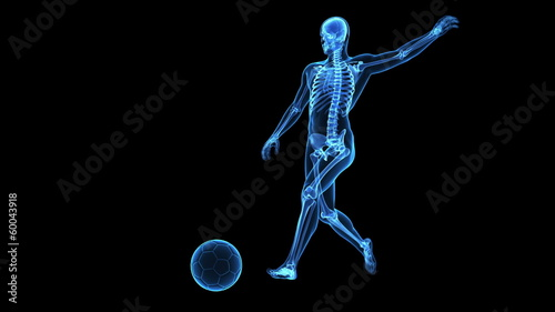 Medical animation - football player with visible skeleton