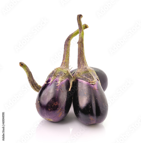 Fine blue eggplant isolated on white background
