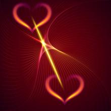 Vector Flame coeurs abstraits et poutres fond rouge foncé