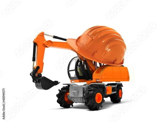 Excavator with Hard Helmet