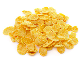 Sweet, tasty cornflakes, dry crispy on white background