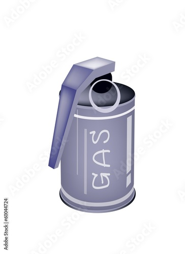 A Tear Gas Grenade on White Background
