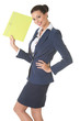Young business woman holding files.