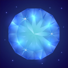 Vector illustration of precious sapphire gemstone