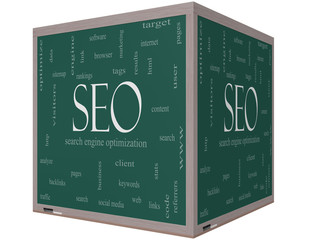 SEO Word Cloud Concept on a 3D cube Blackboard