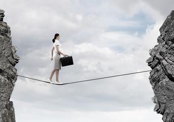 Risky businesswoman