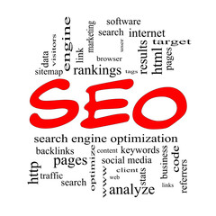 SEO Word Cloud Concept in red caps