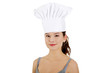 Young woman with chef hat.