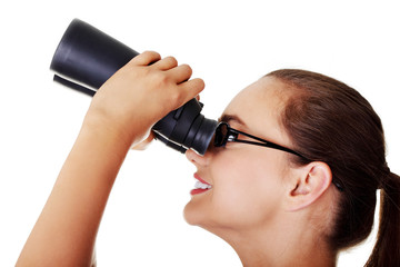 Beautiful young woman with binoculars.